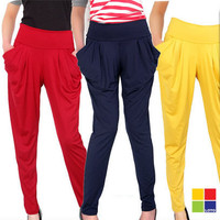 New Fashion Ladies Colorful High Waist Draped Harem Pants Stretch Trousers Long