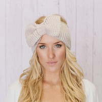 Knitted Bow Headband LARGE Bow Ear Warmer in Vanilla Latte Taupe Knitted Earwarmer in Light Tan TEN DAY lead time