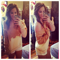 Studded Dip Dyed Ombré Light Brown Off the Shoulder Sweatshirt