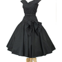 1950s Black Tea Length Full Skirt Party Dress-50s New Look Authentic Vintage Dresses