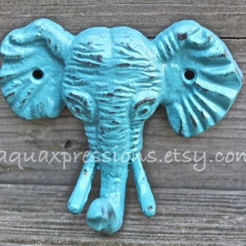 Elephant Wall Hook / Aqua Blue /Shabby Chic Decor / Jewelry Holder /Nursery /Bathroom fixture /Distressed