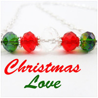 Christmas Crystal Necklace Christmas Holiday by PeriwinkleParadise