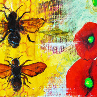 Bee and Flower Small Art Print