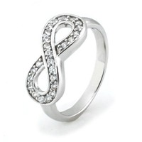 Sterling Silver Infinity Ring w/ Cubic Zirconia (Size 6) Available Size: 4, 4.5, 5, 5.5, 6, 6.5, 7,