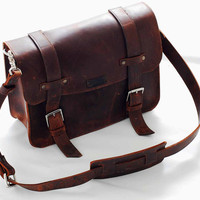 Leather book bag or messenger bag for men  ann women - OOAK Ready to ship for the holidays