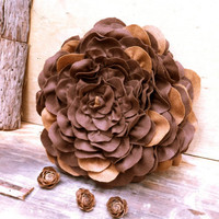 brown flower decorative pillow in felt unique rustic home decor