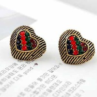 Vintage Gold Tone Multicolor Rhinestone Studded Heart Stud Earrings at Online Cheap Vintage Jewelry Store Gofavor