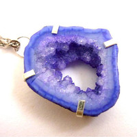 Indigo Geode Druzy Necklace by AstralEYE on Etsy