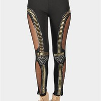 Mesh Studded Legging - Black at Necessary Clothing