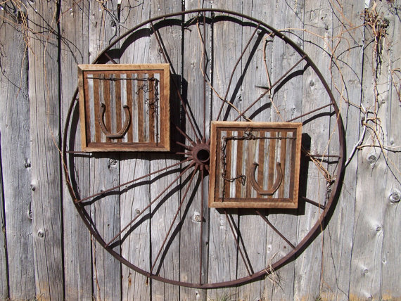 Western Wood Wall Decor : Reclaimed barn wood wall art with old from