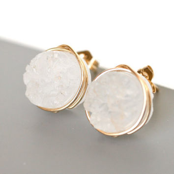 Stunning Snow White Druzy Quartz Stud From Wrenn Jewelry