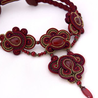Soutache Choker Necklace - Lady in (dark) Red