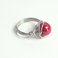 Red and Silver Wire Wrapped Ring