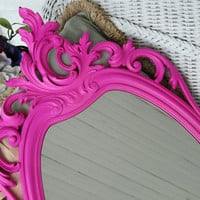 Large Hot Pink Syroco Oval Wall Mirror French Hollywood Regency Upcycled Vintage