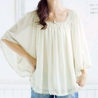 Wholesale Fashion Square Collar Wide Sleeve Dress Beige http://www.wholesale-dress.net