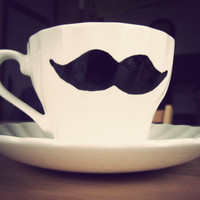 Moustache teacup and saucer  hand drawn &amp; vintage by MrTeacup