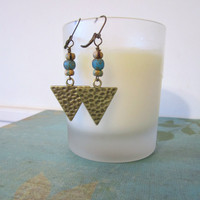 Triangle Earrings - Antique Brass by 636designs