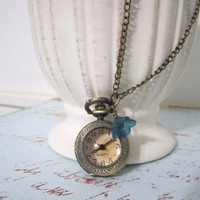 Antique Brass Pocket Watch Necklace - Pendant by 636designs