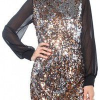 Chiffon & Sequin Shift Dress in Copper