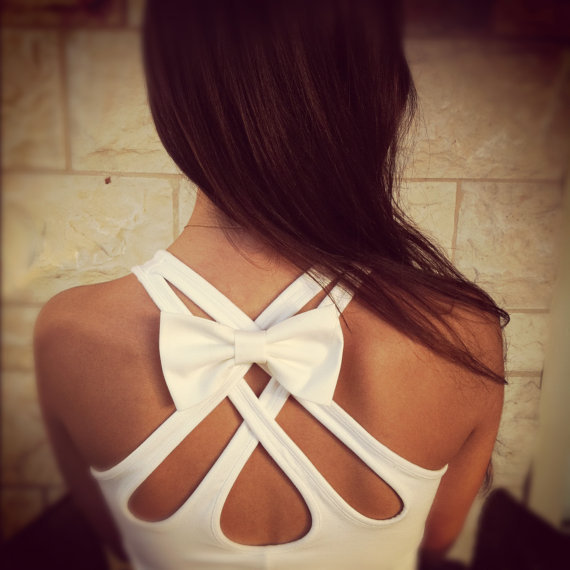 BIG White bow pin for clothes