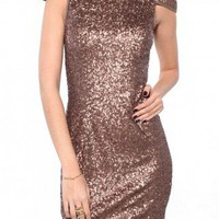 Sequin Cap Sleeve Dress in Bronze