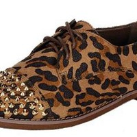 Amazon.com: Kelley-12, leopard, women's oxford flats, R8, size: Shoes