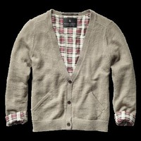 Cropped cardigan with elbow patches - Knits - Scotch &amp; Soda Online Shop
