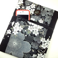 Black and White ipad 4 cover, Unique Tablet Sleeve, Gift for Her With Zippered Pocket Kimono Cotton Fabric cherry blossoms black and white