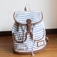 Sky Blue and White Striped Backpack