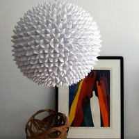 Large Faceted Pendant Light  White Folded Paper