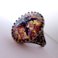 Gold Maroon Glass Slipper Opal Ring