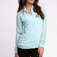 Kirra Lurex Lace Button Down Shirt at PacSun.com