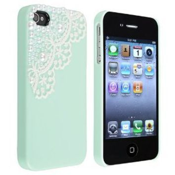 EVERMARKET(TM) Hand Made Lace and Pearl Green Hard Case Cover for iPhone 4 4G 4S