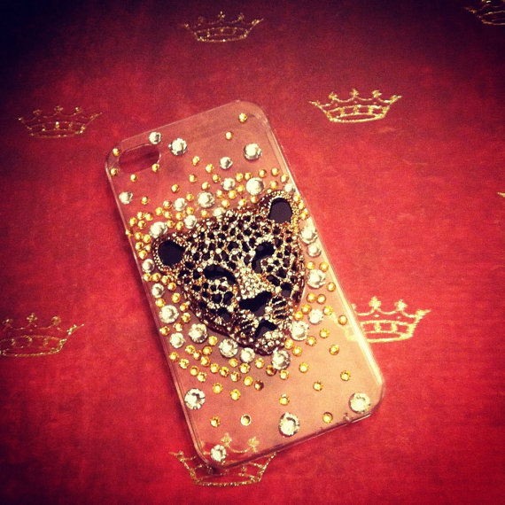 iPhone 4 / 4s Sparkling Glam Rhinestone Bling Tiger 3D case