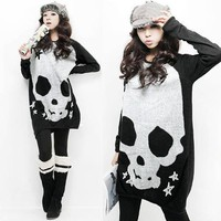 Long Sleeve Skull Print Loose Knitted Tee T-Shirt Sweater Jumper Top Mini Dress