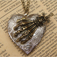 Steampunk Skull Hand Locket Necklace Vintage Style Original Design