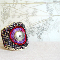 SILK BRACELET, Embroidered Beaded, Magenta Black, Textile Jewelry