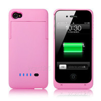 NEW 1900mAh Extended Battery Case Cover Charger for Apple iPhone 4 4S 4G PINK