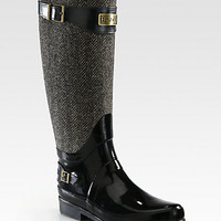 Hunter - Wool Herringbone and Rubber Rain Boots