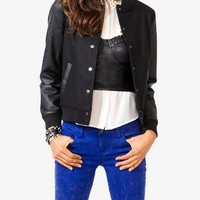 Faux Leather Sleeve Varsity Jacket