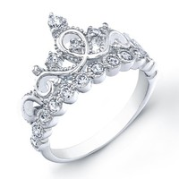 925 Sterling Silver Crown Rings / Princess Ring (6)