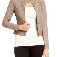Amazon.com: 2B Shelly Button Collar Leatherette Jacket: Clothing