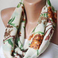 Infinity Scarf, Loop Scarf  handmade from cream with flower chiffon and coton linen