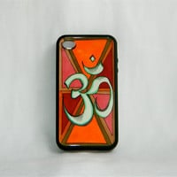 Path to Peace, iPhone case, iPhone cover, iPhone 4/4s, Om symbol, orange, red, hipster, bohemian, hippie, yoga, zen, men, women, christmas