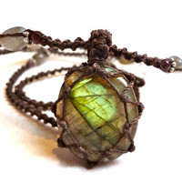 boho LABRADORITE macrame Necklace shaman healing by EarthCultured