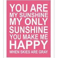 "Finny and Zook - Pink ""You are my sunshine"" Wall Art"