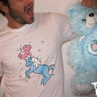T shirt white unicorn care bear men pink pale blue white star blood sale