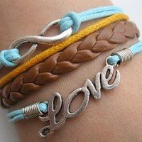 Love & Infinity Leather Bracelet- Available in 6 Colors!