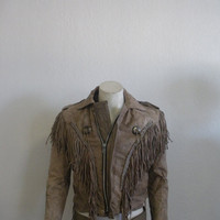 Vintage Grey  Fringe Leather Jacket  UNIK