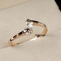 18K Rose Gold GP Swarovski Crystal Unique Ring Size 4,5,6,7,8,9 Available